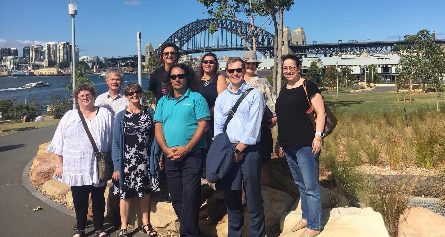 The Board at Barangaroo. From L to R: Lisa Penrith, Bruce Brown, Anita Phillips, Karrina DeMasi, Celia Harnas, Clarence Slockee (from Barangaroo), Jill Humphreys, Paul Shinkfield and Renee Owen.