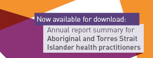 Now available for download: Annual report summary for Aboriginal and Torres Strait Islander health practitioners.